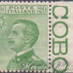 20 Centesimi verde Vittorio Emanuele bordo di foglio ★★