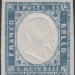 15 Centesimi azzurro grigio 1863 ★★