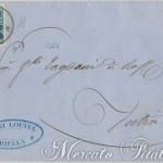 20 Centesimi celeste su lettera da Biella a Intra 1856
