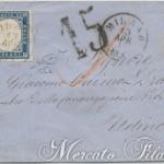 20 Centesimi azzurro grigio su lettera da Milano a Udine 1861