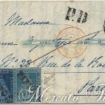 Lettera tricolore da Pistoia a Parigi 1852