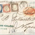 Lettera tricolore da Genova per via di mare 1859