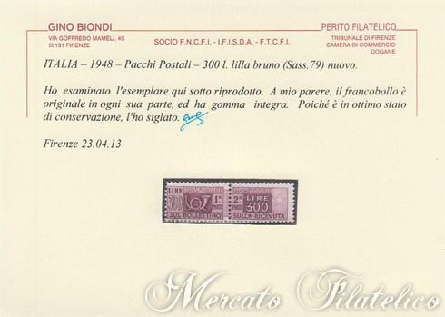 300 lire pacchi postali certificato