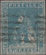 2 Crazie azzurro 1857 usato