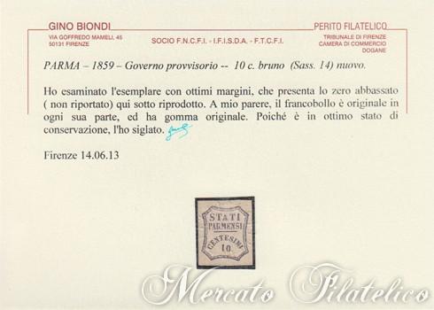 10 centesimi bruno certificato