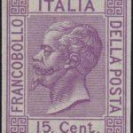 Saggio 15 Centesimi violetto con fondo lineato ★★