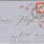 40 Centesimi rosa carminio su lettera da Torino a Nizza