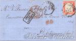 Lettera con 40 Centesimi rosso carminato Torino-Saint Etienne