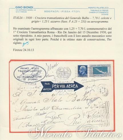 aerogramma roma rio certificato