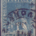 6 Crazie azzurro chiaro 1857 usato