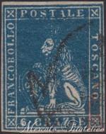 6 Crazie azzurro vivo 1857 usato
