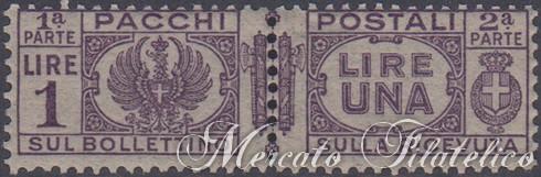 pacchi postali 1 lira violetto bruno