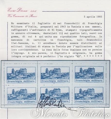 foglietto franchigia militare certificato