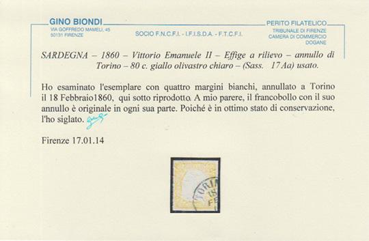 80 cent giallo olivastro chiaro certificato