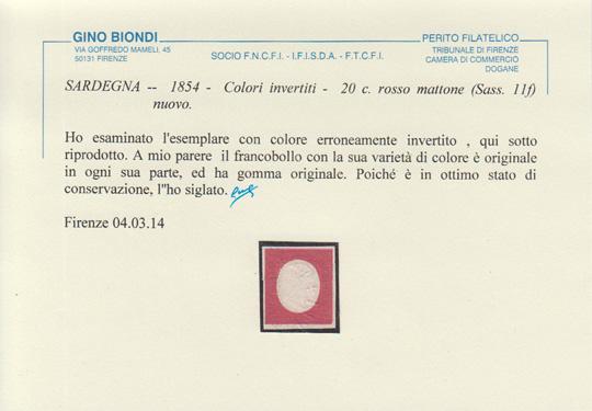 20 centesimi colore invertito certificato