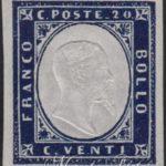 20 centesimi indaco violaceo scuro