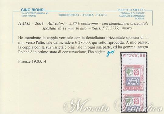 280 euro alti valori certificato