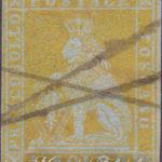 1 Soldo giallo limone su azzurro usato