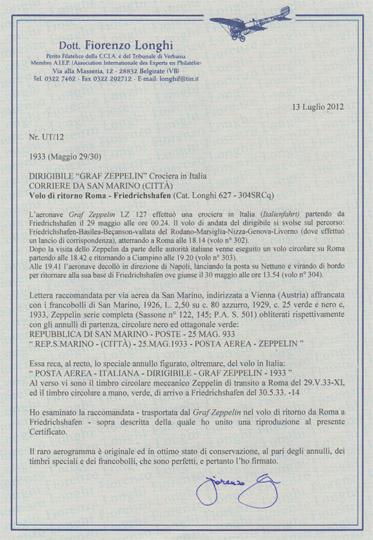 aerogramma zeppelin san marino certificato longhi