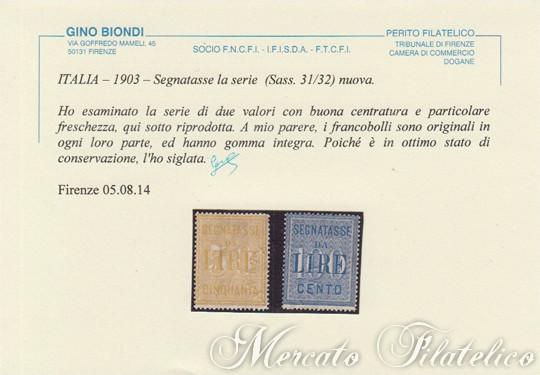 segnatasse 1903 certificato