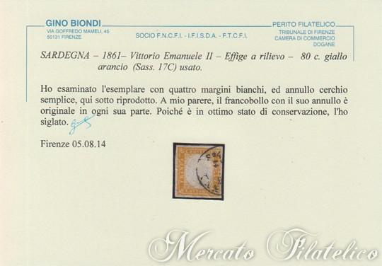 80 centesimi giallo arancio certificato