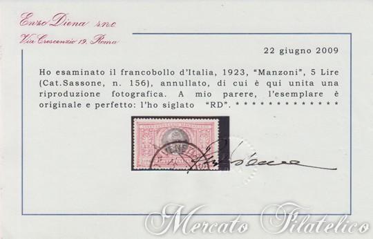 5 lire manzoni certificato