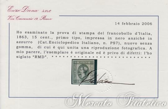15 centesimi nero certificato