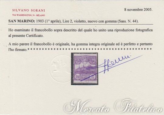 1903 cifra e vedute certificato