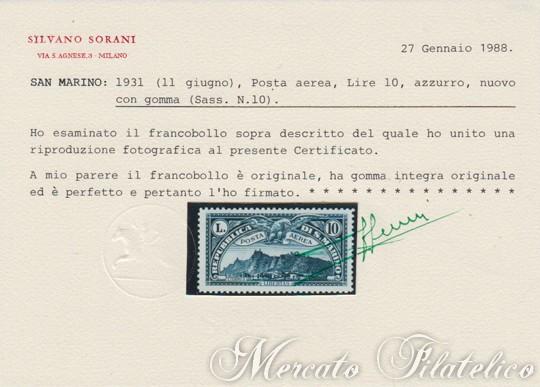 1931 vedute di posta aerea certificato