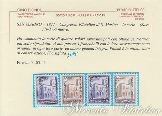 convegno filatelico 1933 certificato