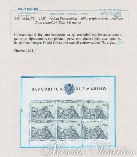 foglietto veduta panoramica certificato