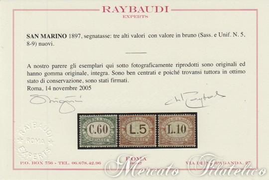 segnatasse 1897 certificato