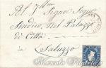 Lettera con 20 Centesimi azzurro I emissione da Nizza a Saluzzo