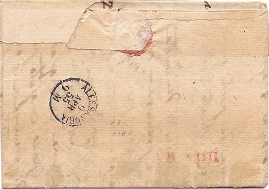 lettera 20 cent 1854 verso
