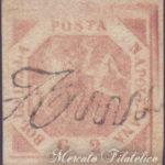 2 Grana rosa brunastro usato con annullo a svolazzo