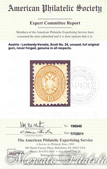 emissione 1864 certificato