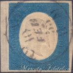 20 Centesimi azzurro 1854 usato