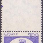 700 Lire Castello di Ivrea con stampa monocromatica fuori dal francobollo ★★