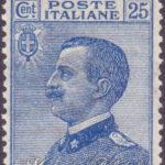 25 Centesimi azzurro Vittorio Emanuele centrato ★★