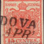 15 Centesimi rosso vermiglio I tipo usato