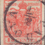 15 Centesimi rosso vermiglio II tipo usato