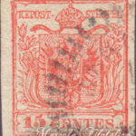 15 Centesimi rosso vivo III tipo usato
