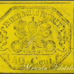 40 Centesimi giallo non dentellato usato